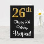 [ Thumbnail: 26th Birthday ~ Elegant Luxurious Faux Gold Look # Card ]