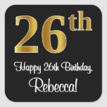 [ Thumbnail: 26th Birthday – Elegant Luxurious Faux Gold Look # Sticker ]