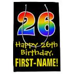 "[ Thumbnail: 26th Birthday: Fun, Bold, Colorful, Rainbow ""26"" Gift Bag ]"