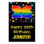 [ Thumbnail: 26th Birthday: Fun, Colorful Stars + Rainbow # 26 Card ]