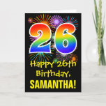 [ Thumbnail: 26th Birthday: Fun Fireworks Pattern + Rainbow 26 Card ]