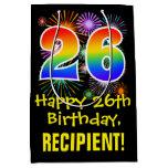 [ Thumbnail: 26th Birthday: Fun Fireworks Pattern + Rainbow 26 Gift Bag ]