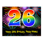 [ Thumbnail: 26th Birthday – Fun Fireworks Pattern + Rainbow 26 Postcard ]