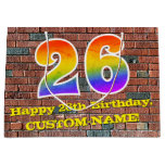 [ Thumbnail: 26th Birthday: Fun, Graffiti-Inspired Rainbow # 26 Gift Bag ]
