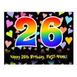 [ Thumbnail: 26th Birthday: Fun Hearts Pattern, Rainbow 26 Postcard ]