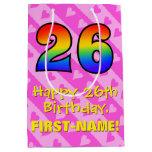 [ Thumbnail: 26th Birthday: Fun Pink Hearts Stripes; Rainbow 26 Gift Bag ]