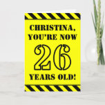 [ Thumbnail: 26th Birthday: Fun Stencil Style Text, Custom Name Card ]