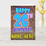 [ Thumbnail: 26th Birthday - Fun, Urban Graffiti Inspired Look Card ]