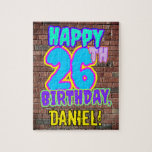 [ Thumbnail: 26th Birthday ~ Fun, Urban Graffiti Inspired Look Jigsaw Puzzle ]