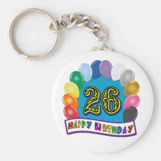 26th Birthday Gifts with Assorted Balloons Design Keychain