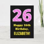 "[ Thumbnail: 26th Birthday: Pink Stripes and Hearts ""26"" + Name Card ]"