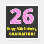 "[ Thumbnail: 26th Birthday: Pink Stripes and Hearts ""26"" + Name Napkins ]"