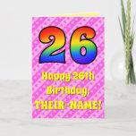 [ Thumbnail: 26th Birthday: Pink Stripes & Hearts, Rainbow # 26 Card ]