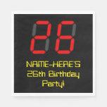 "[ Thumbnail: 26th Birthday: Red Digital Clock Style ""26"" + Name Napkins ]"