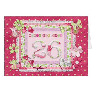 26th birthday scrapbooking style greeting card