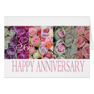 26th Wedding Anniversary Card pastel roses