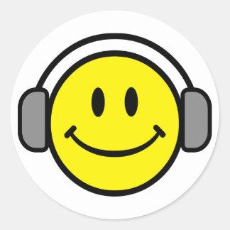 2700-Royalty-Free-Emoticon-With-Headphones EMOTICO Pegatina Redonda