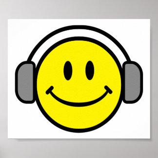 2700-Royalty-Free-Emoticon-With-Headphones EMOTICO Póster