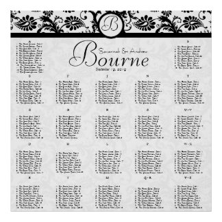 270 - 300 Guests Black Damask Seating Chart