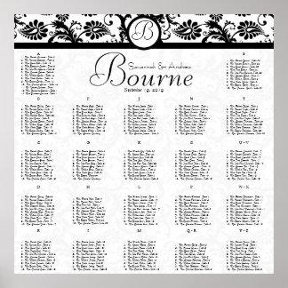 270 - 300 Guests Black Damask Seating Chart Print