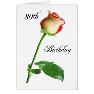 2720 Happy 80th Birthday Rose Greeting Card