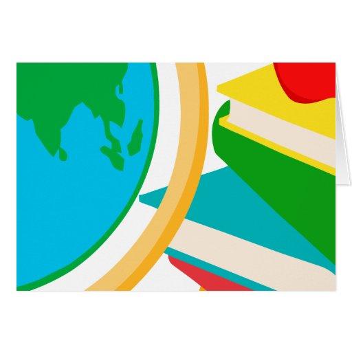 2727-Elementary-School-Design-Globe ESCUELA EDUCAT Tarjeta De Felicitación