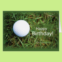 2728 Golf Ball in Grass Birthday Card