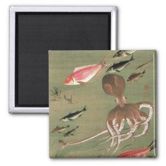 27. 諸魚図, 若冲 Various Fishes, Jakuchū, Japan Art 2 Inch Square Magnet