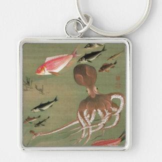 27. 諸魚図, 若冲 Various Fishes, Jakuchū, Japan Art Silver-Colored Square Keychain