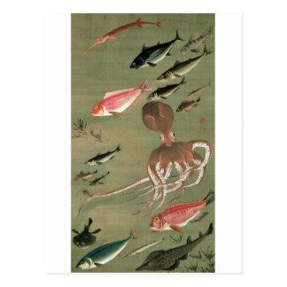 27. 諸魚図, 若冲 Various Fishes, Jakuchū, Japan Art Postcard