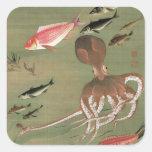 27. 諸魚図, diversos pescados del 若冲, Jakuchū, arte Calcomanías Cuadradass
