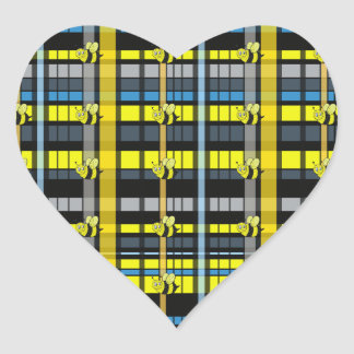 27.Black and Yellow Plaid Bumble Bees Design Heart Sticker