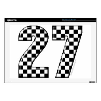 27 checkers flag number decals for laptops