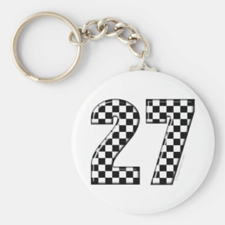 27 checkers flag number keychain