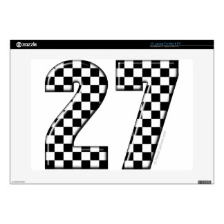 27 checkers flag number laptop decals