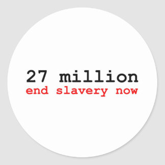 27 million end slavery now classic round sticker