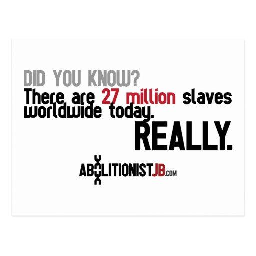 27 Million Slaves Worldwide Postcard