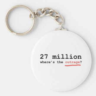 27 million - where's the outrage? basic round button keychain