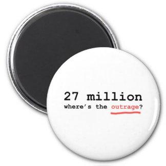 ¿27 millones - dónde está el ultraje? imán redondo 5 cm