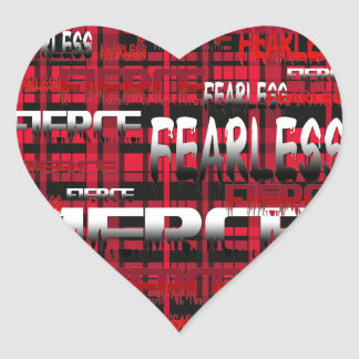 27.Red and Black Plaid Fearless Fierce Heart Sticker