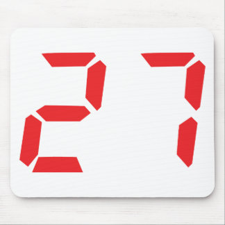 27 twenty-seven red alarm clock digital number mouse pad