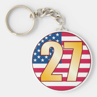 27 USA Gold Basic Round Button Keychain