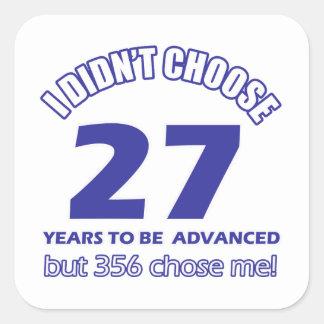 27 years advancement square sticker