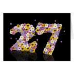 27ma tarjeta de cumpleaños con las letras floridas