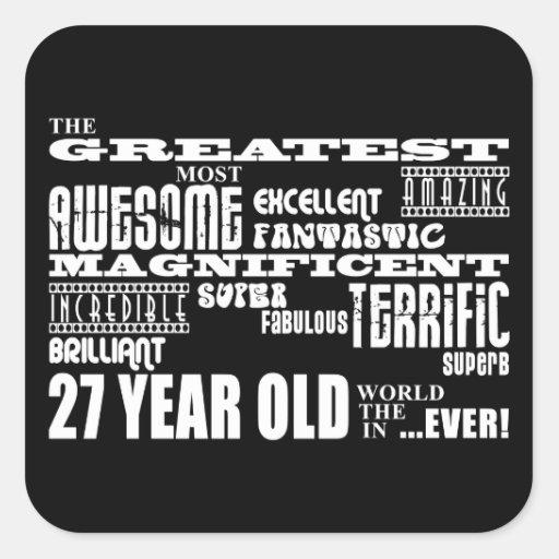 27mo Años más grandes de la fiesta de cumpleaños Pegatina Cuadradas Personalizadas