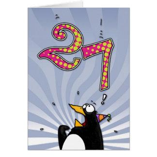 27mo cumpleaños - tarjeta de la sorpresa del pingü