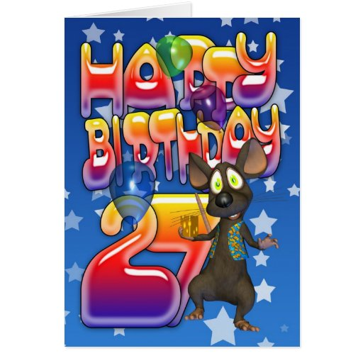 27mo Tarjeta de cumpleaños, feliz cumpleaños