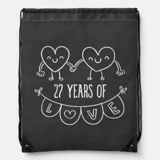 27th Anniversary Gift Chalk Hearts Drawstring Backpack