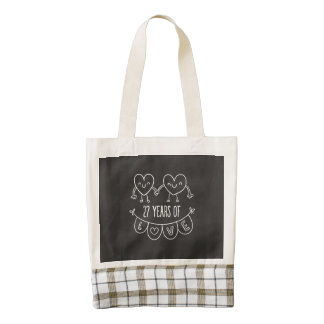 27th Anniversary Gift Chalk Hearts Zazzle HEART Tote Bag