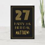 "[ Thumbnail: 27th Birthday: Art Deco Inspired Look ""27"" & Name Card ]"